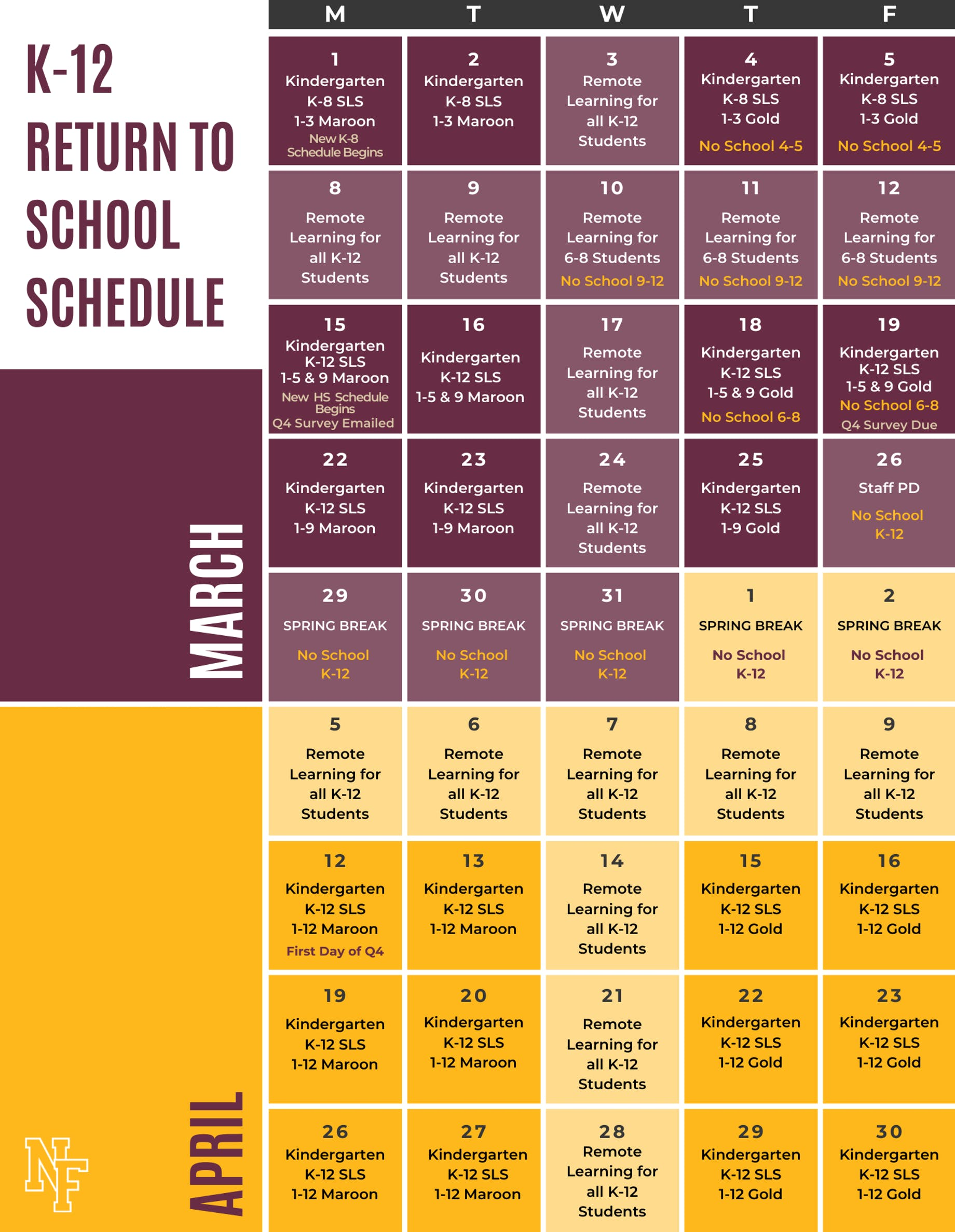 March and April Hybrid Learning Schedule Calendar