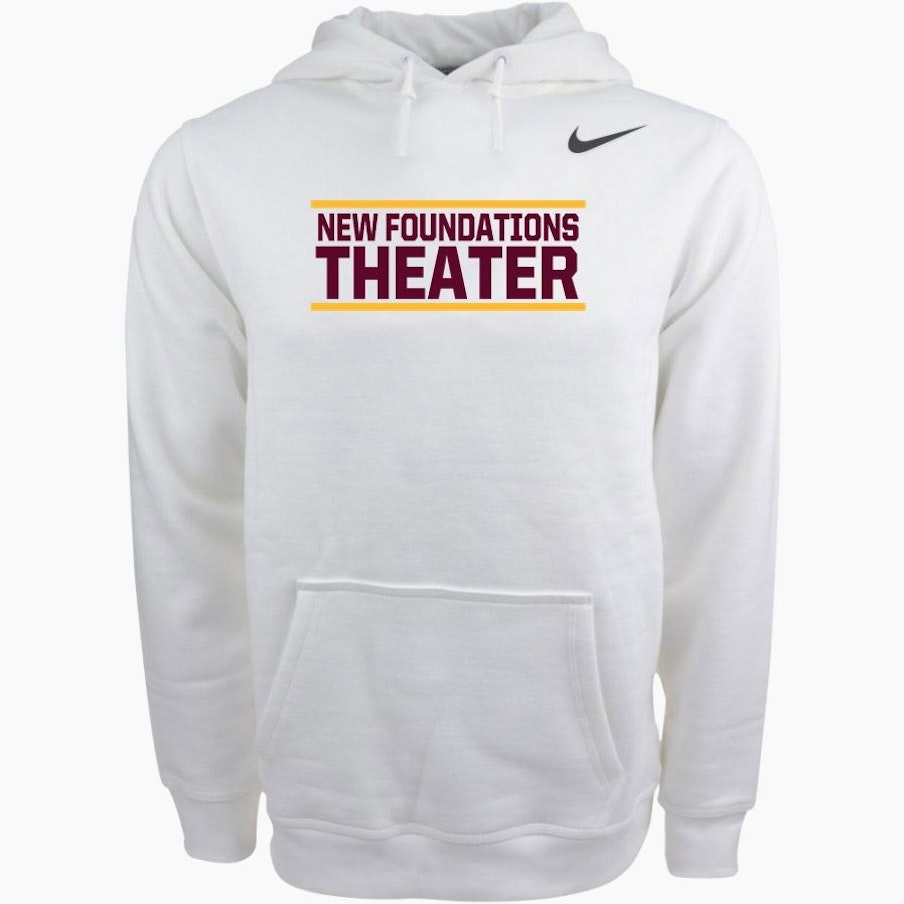 Light grey sweatshirt with the words New Foundations Theater printed on it