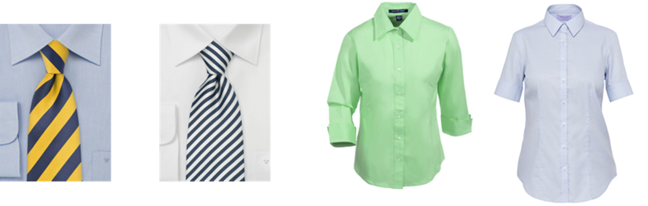 60fb4db6c265 Girls: Classic Oxford shirts/blouses (tucked-in optional and necktie  optional) long sleeve, short sleeve or 3/4-length sleeve.