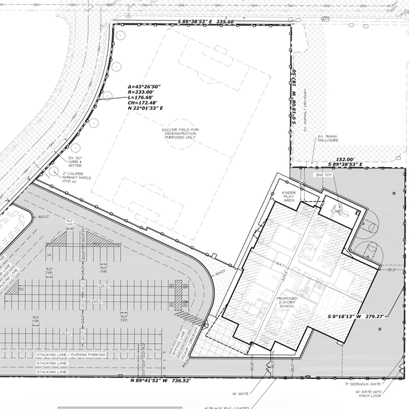 Drawing of the site plan of the school