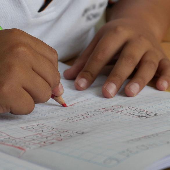 child solving math problems