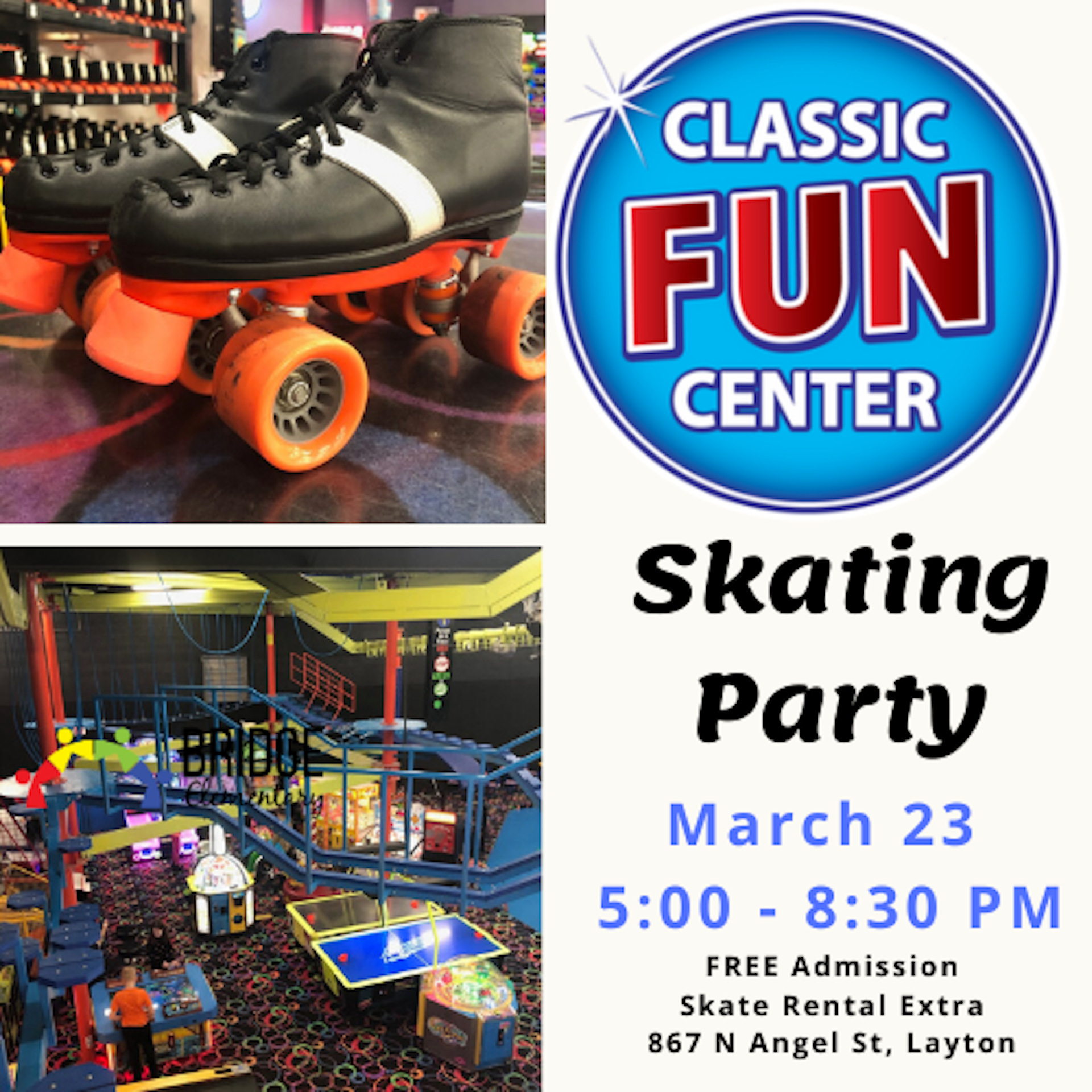Invitation to skating party march 23 5:00 pm at Classic Skating in Layton