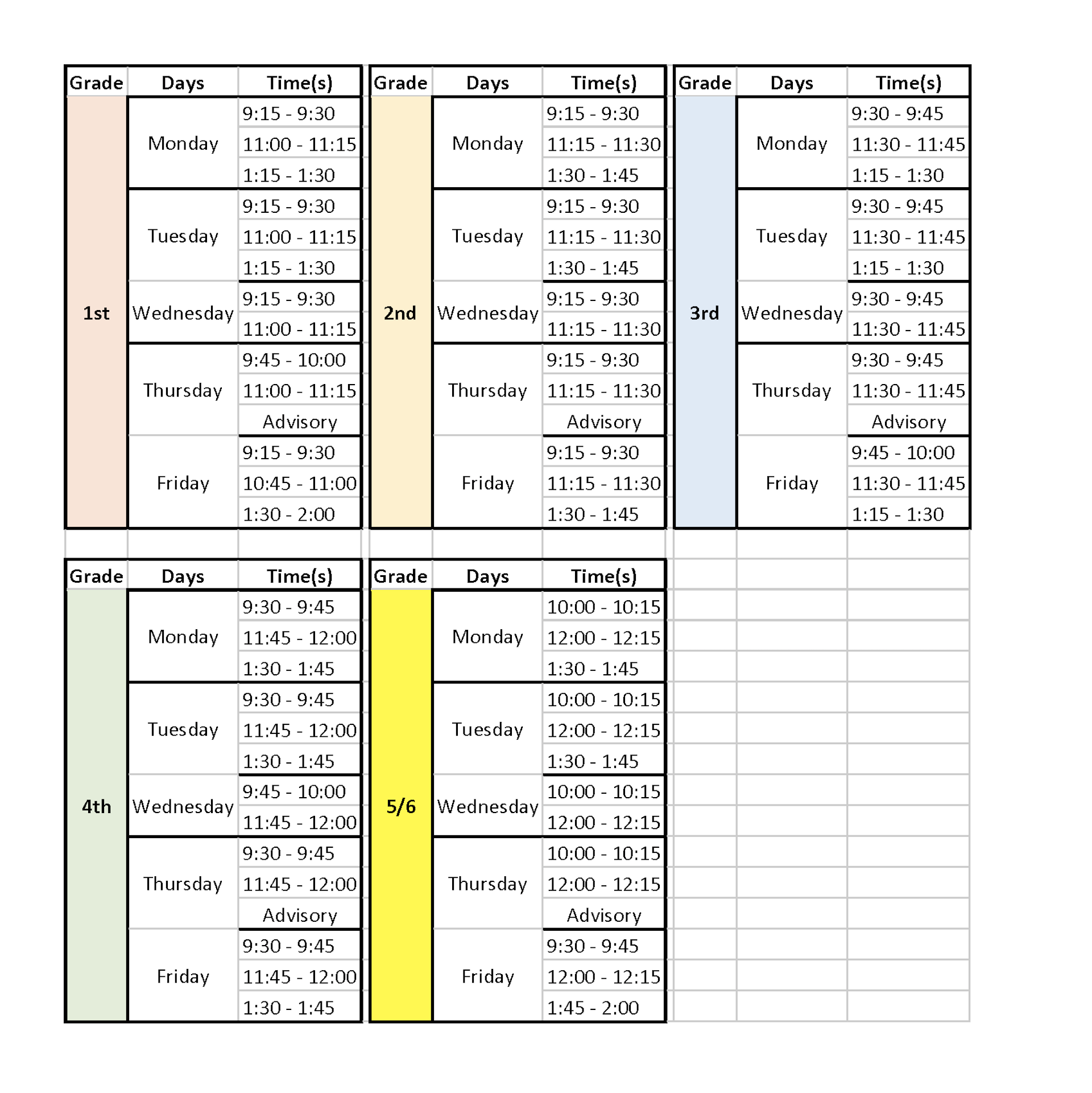 recess schedules in a table