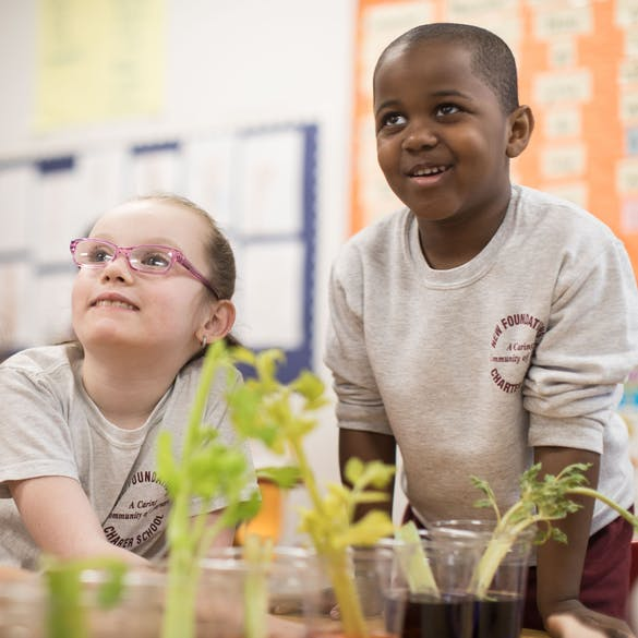 A young male and female student look up from behind plants growing in cups inside the classroom