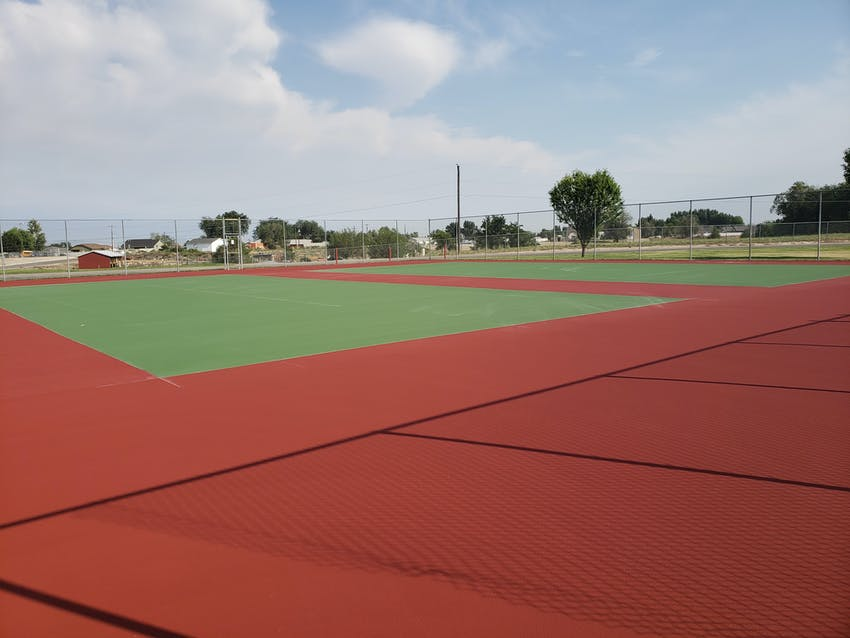 Tennis courts newly paved and painted