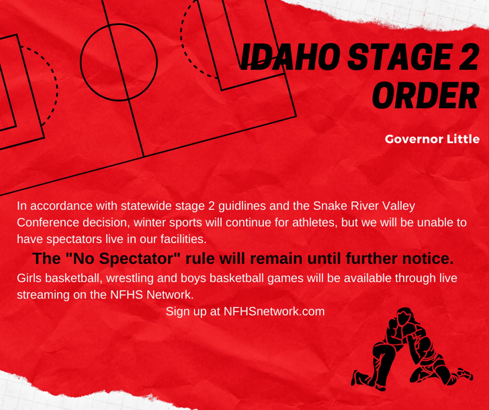 Idaho Stage 2 Order- No Spectators for athletic events.