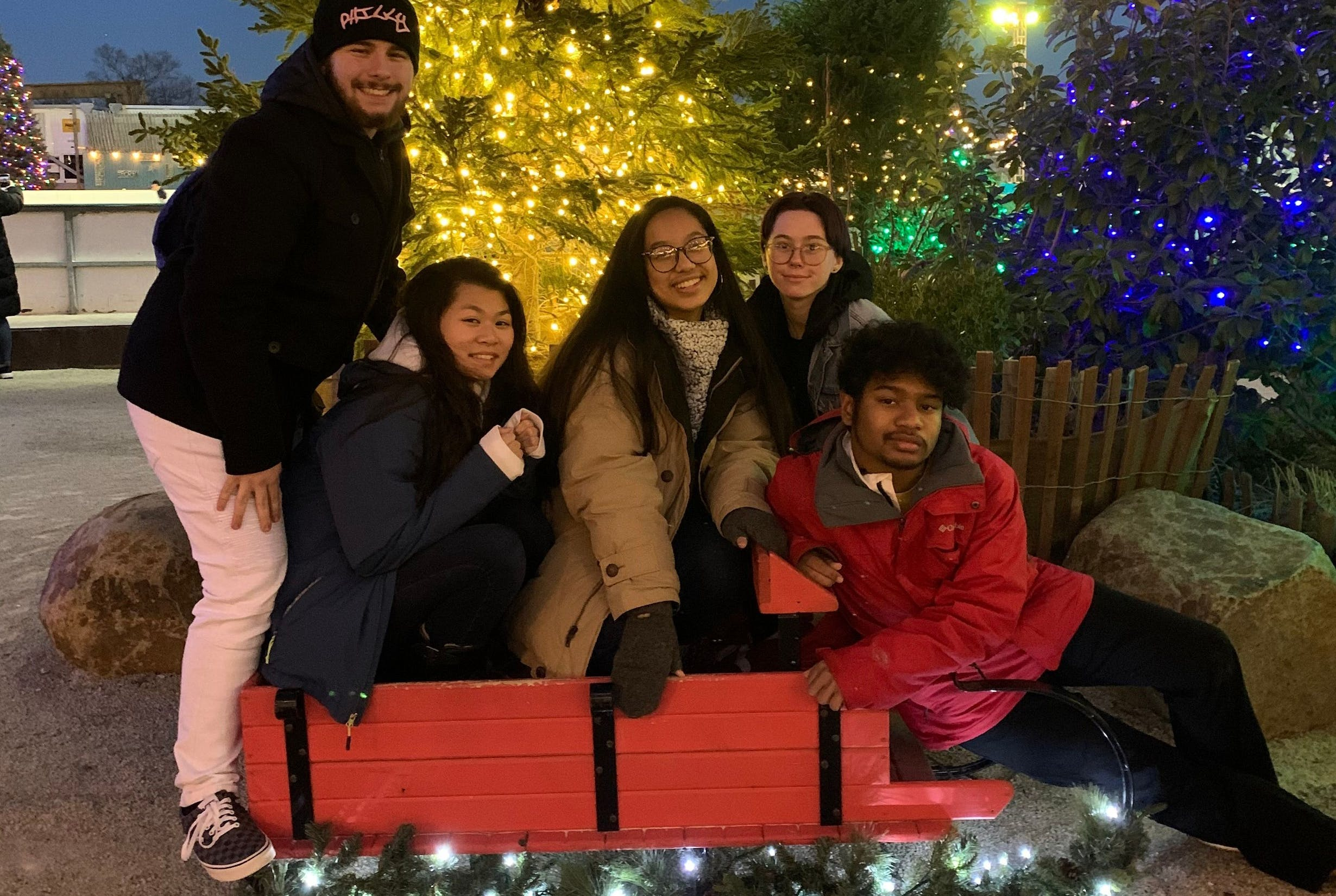 Three female students and two male students posing with a sled in front of a Christmas tree