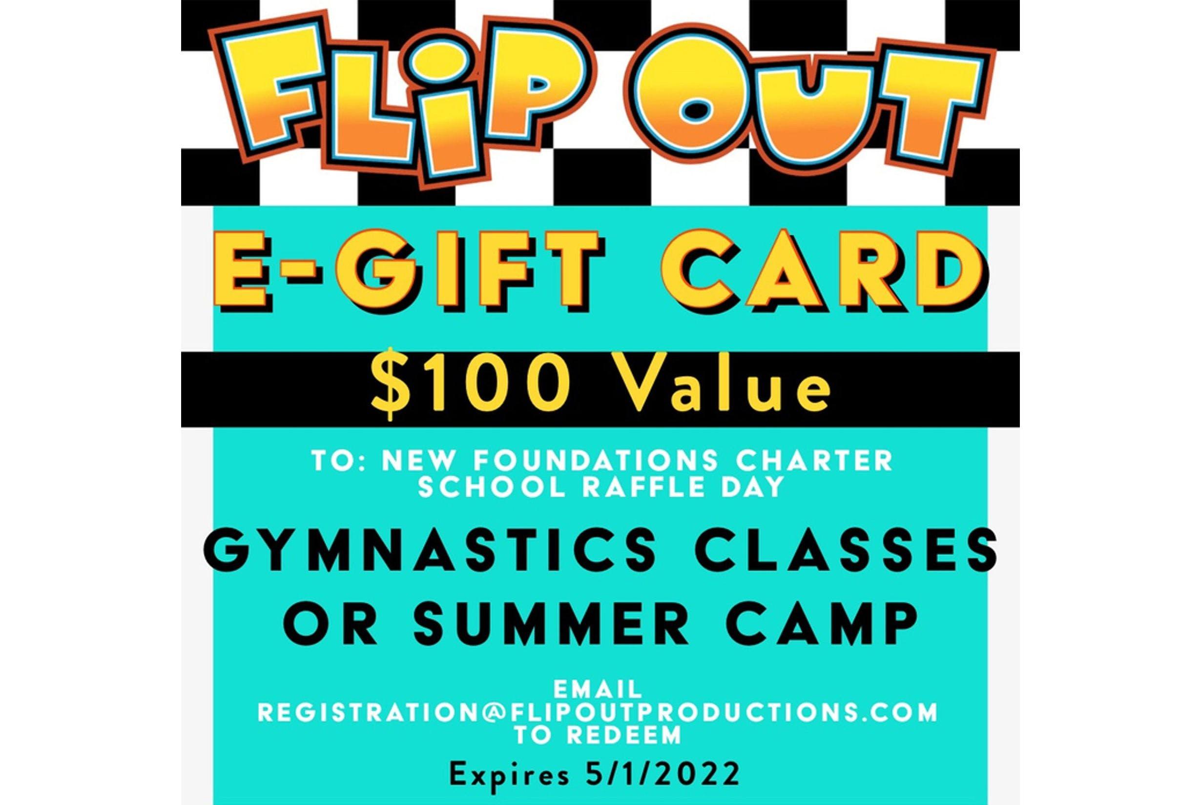 Flip Out Gymnastics $100 Gift Card Prize
