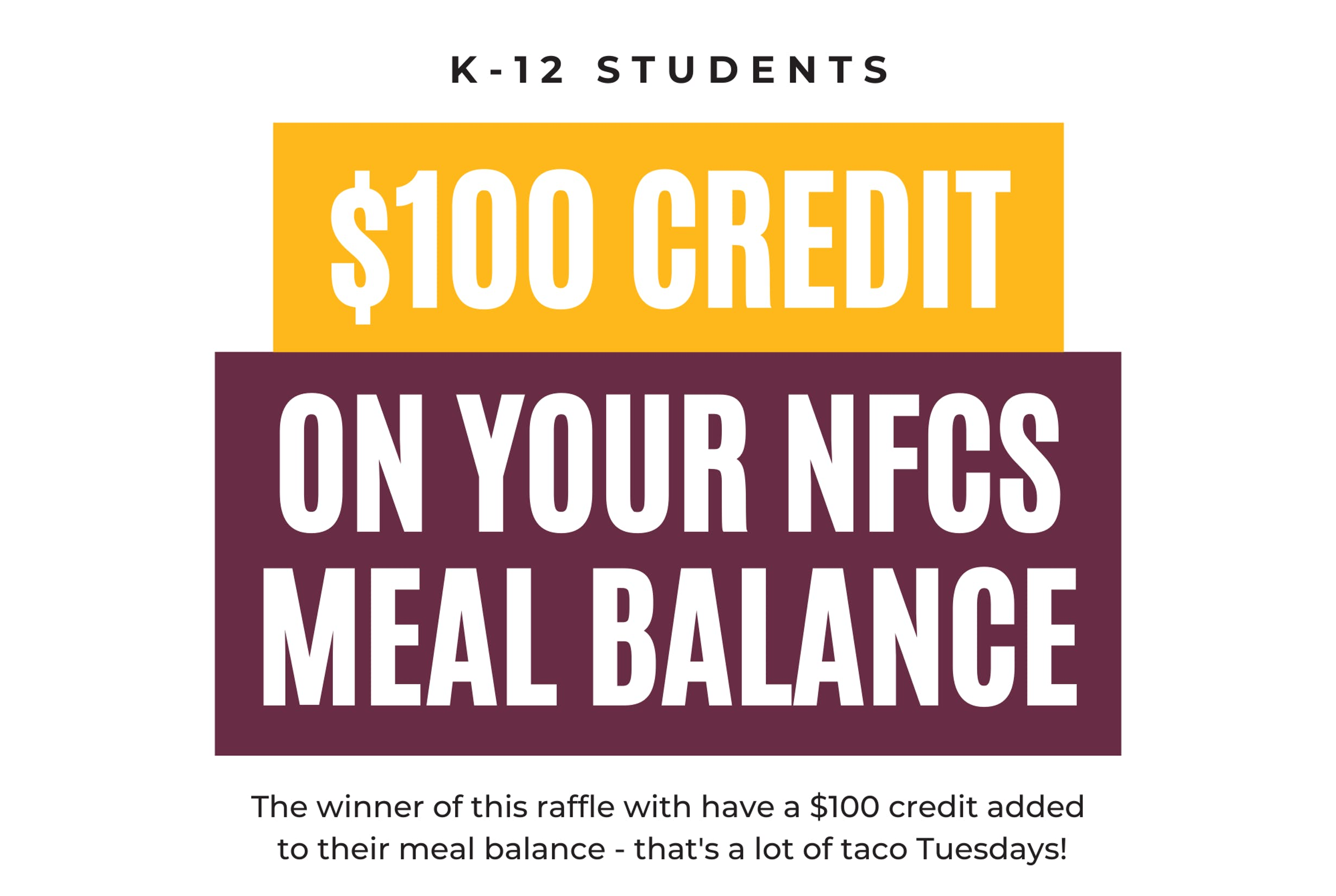 $100 Credit on your New Foundations Meal Balance