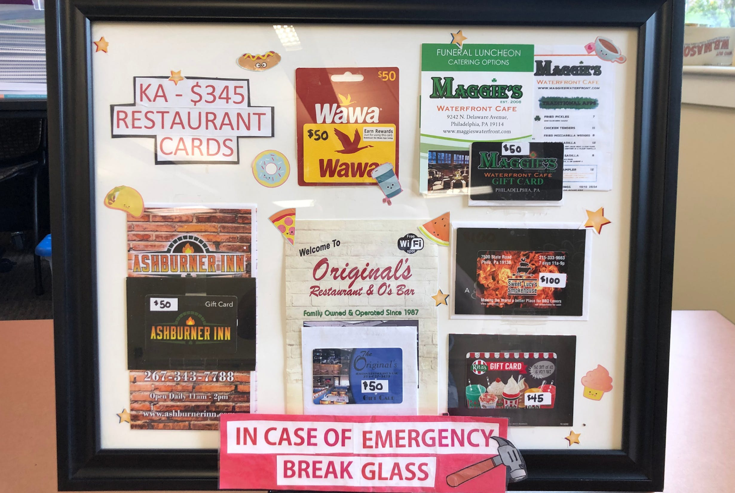 Restaurant Gift Cards In Case of Emergency Prize