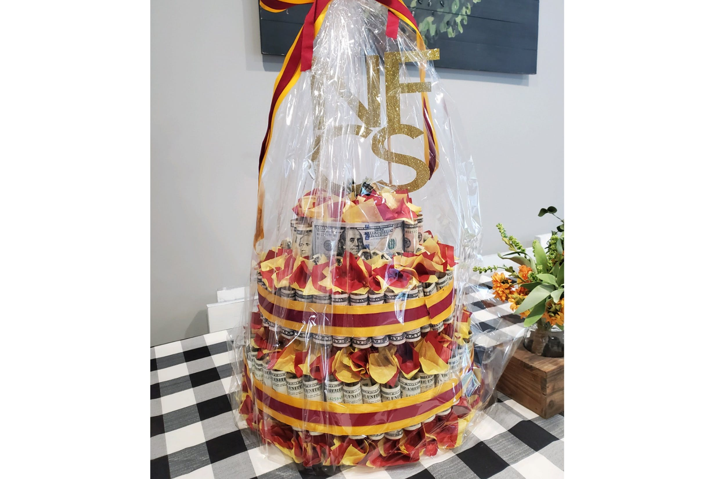 Money Cake Prize Basket