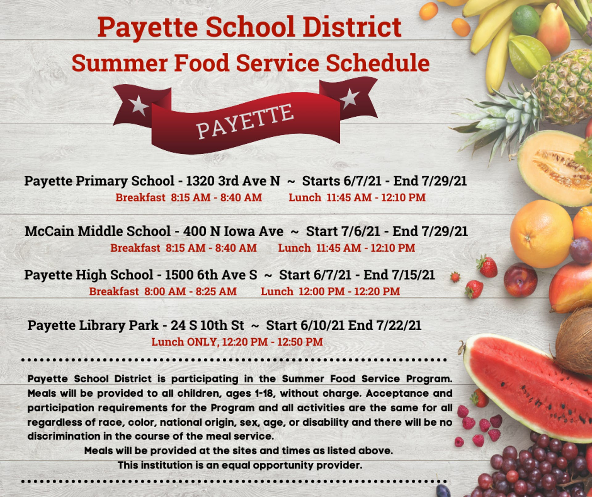 Payette School District Summer Food Service Schedule Dates Image